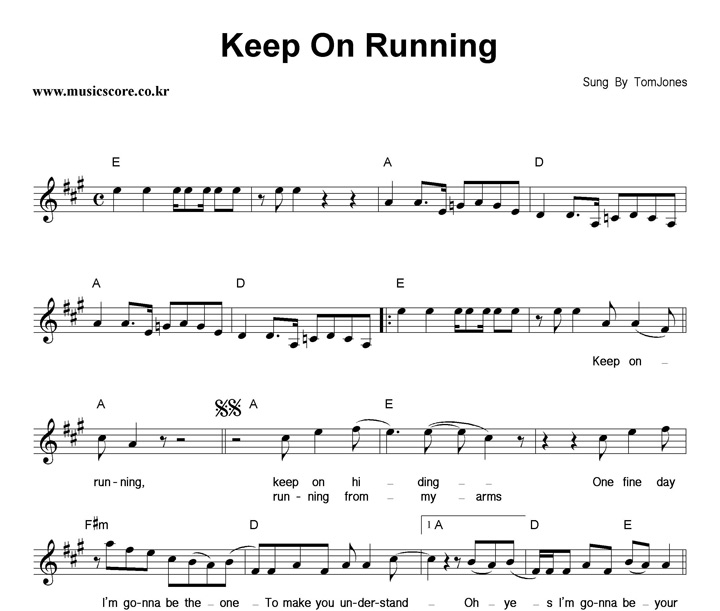 Tom Jones Keep On Running 악보 샘플