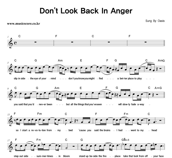 Dont Look Back In Anger Guitar Chords