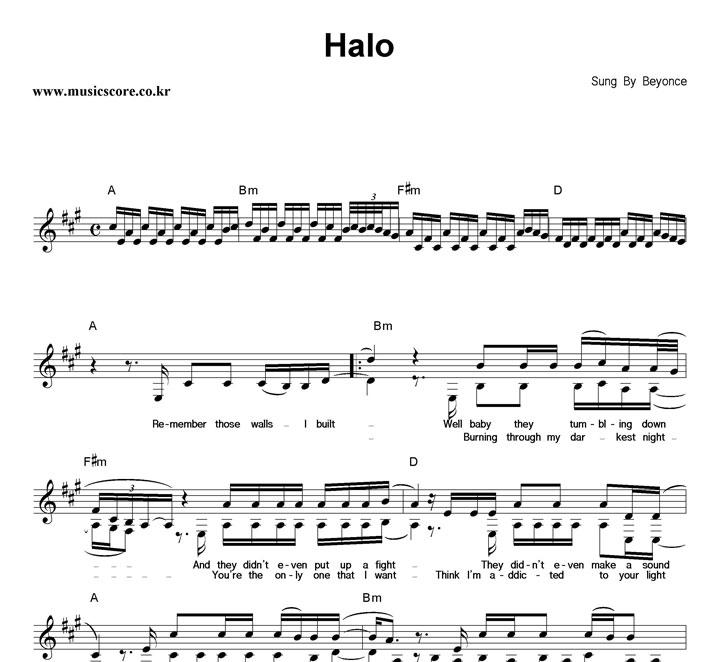 Halo Sheet Music With Lyrics