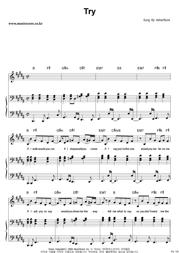 Sheet Music For Try By Asher Book