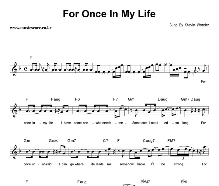 For Once In My Life Chords Trzykoniep
