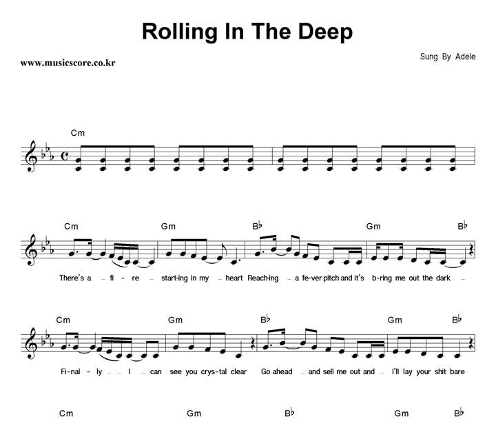 Adele Rolling In The Deep 악보 : 뮤직스코어 악보가게 Rolling In The Deep Songtekst