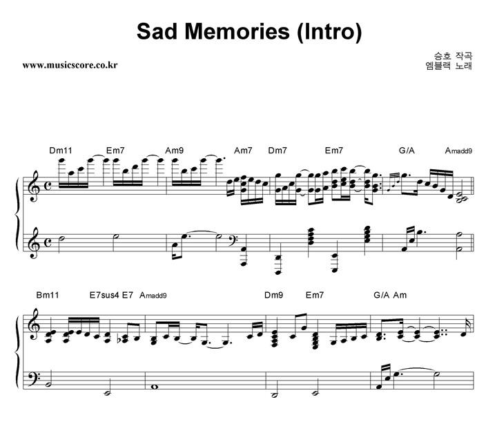 엠블랙 Sad Memories (Intro) 악보 샘플