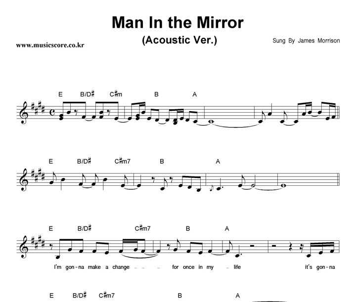 Luxury Man In The Mirror Chords Inspiration - Beginner Guitar Piano ...