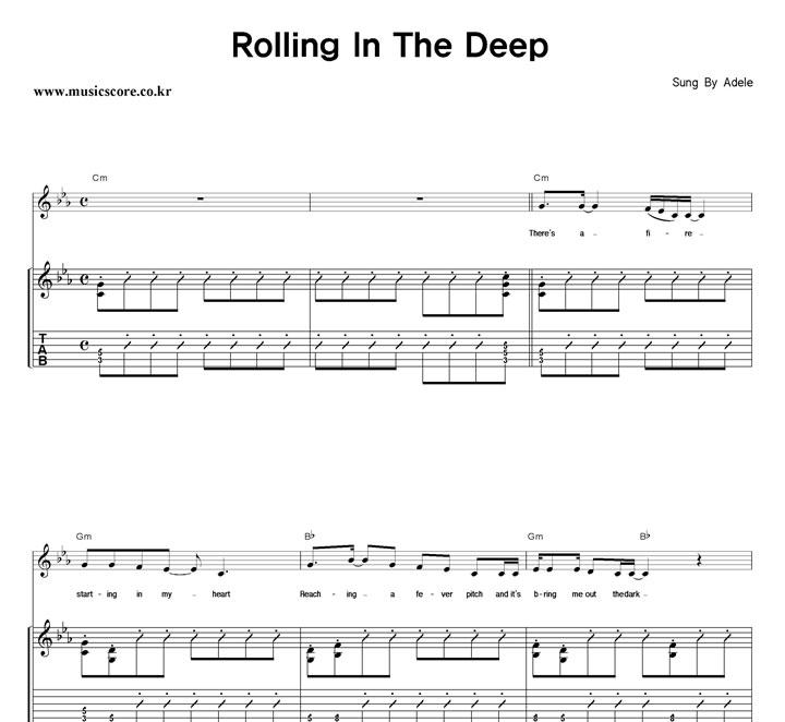 Adele Rolling In The Deep 밴드 기타 타브 악보 : 뮤직스코어 악보가게 Rolling In The Deep Songtekst