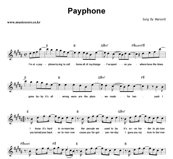 payphone chords maroon 5 echords - office-center.info