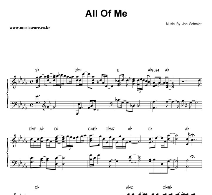 Jon Schmidt All Of Me 악보 샘플