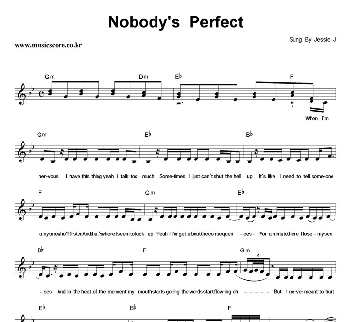 Jessie J Nobody's Perfect 악보 샘플