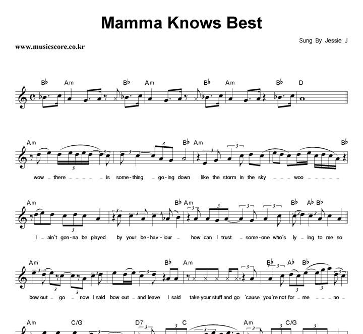 Jessie J Mamma Knows Best 악보 샘플