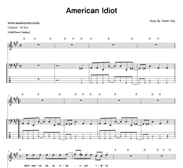 american idiot musical score pdf