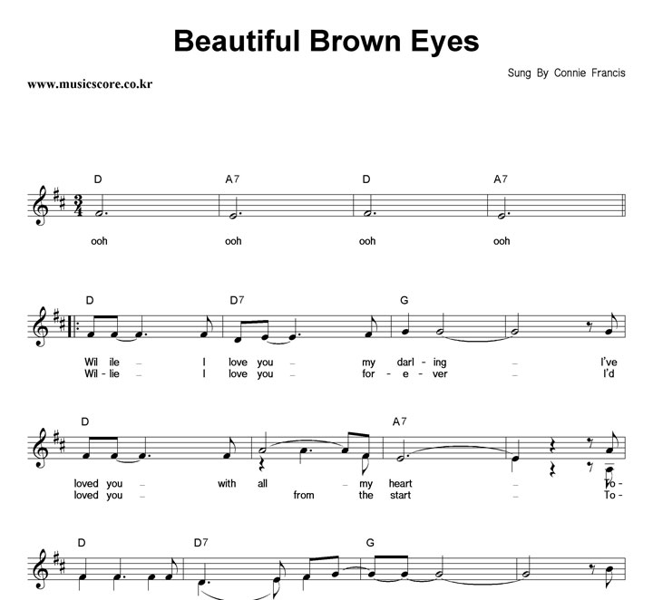 Connie Francis Beautiful Brown Eyes 악보 : 악보가게