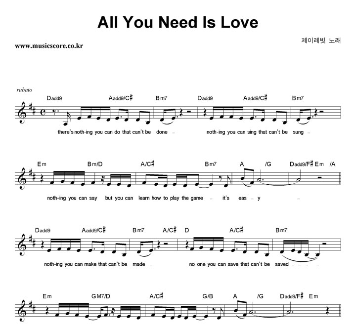 all you need is love chords pdf