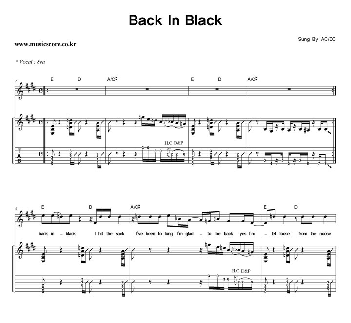 how to play back in black on guitar tabs