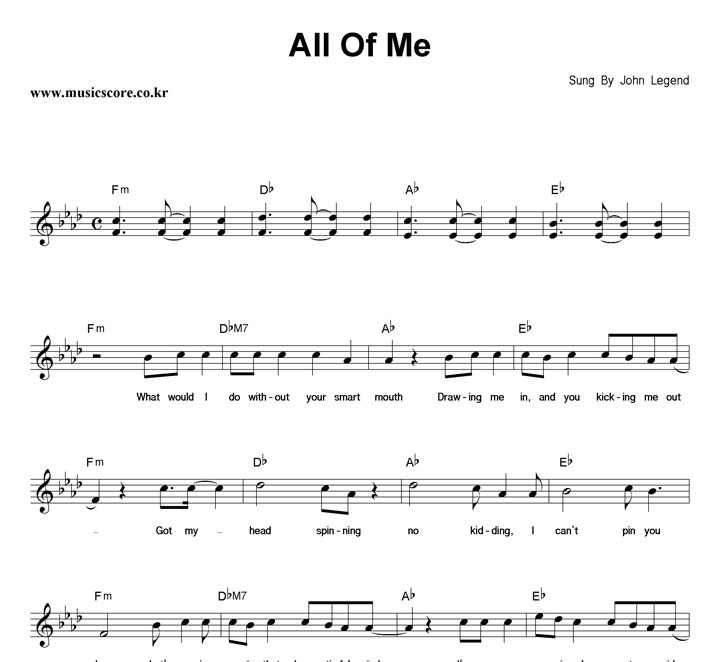 All of me pdf sheet music
