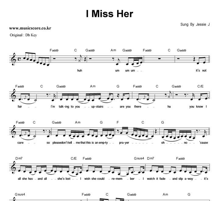 Jessie J I Miss Her  C키 악보 샘플