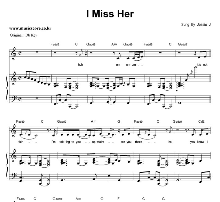 Jessie J I Miss Her  C키 피아노 악보 샘플