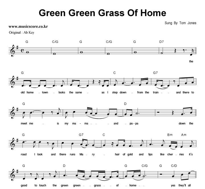 Tom Jones Green Green Grass Of Home  G키 악보 샘플