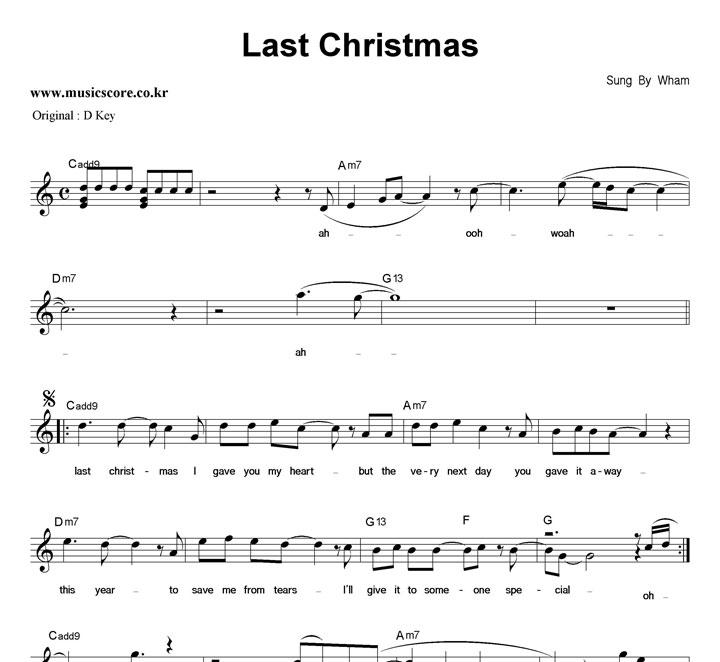 Wham Last Christmas  C키 악보 샘플