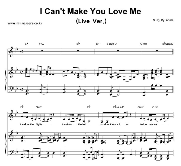 Adele I Can't Make You Love Me (Live Ver ) 피아노 악보