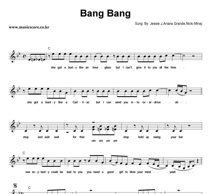 Jessie J, Ariana Grande, Nicki Minaj Bang Bang 악보 샘플