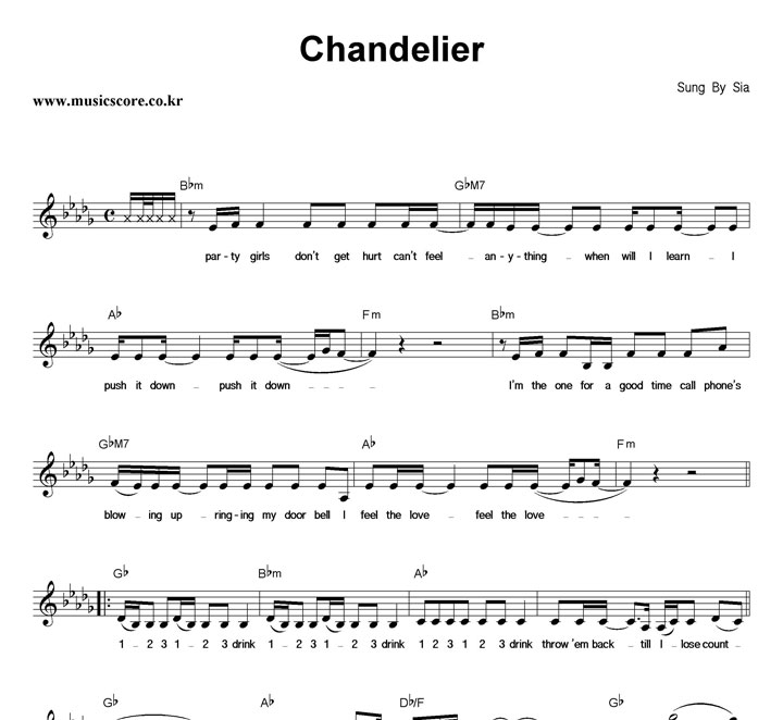 Chandelier Guitar Chords - Chandelier Sheet By Sia Easy Guitar Tab ...
