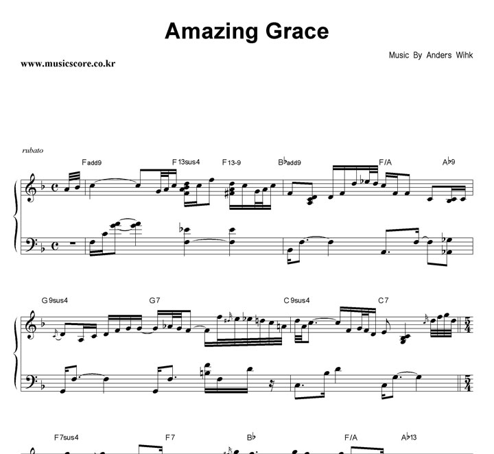 Anders Wihk Amazing Grace 악보 샘플