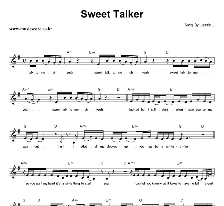Jessie J Sweet Talker 악보 샘플