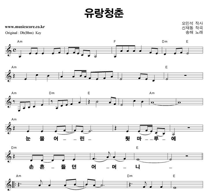 송해 유랑청춘 큰활자  C키 악보 샘플