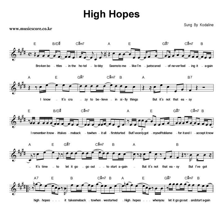 Kodaline High Hopes 악보 샘플