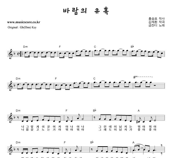 금잔디 바람의 유혹  F키 악보 샘플