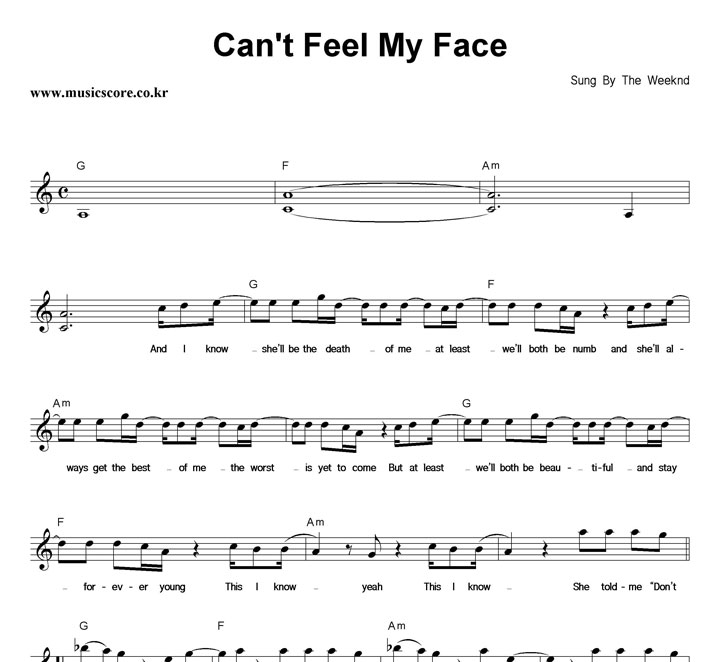 The Weeknd Can't Feel My Face 악보 샘플