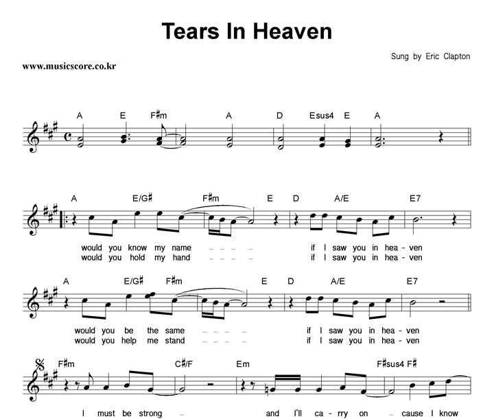 how to play tears in heven