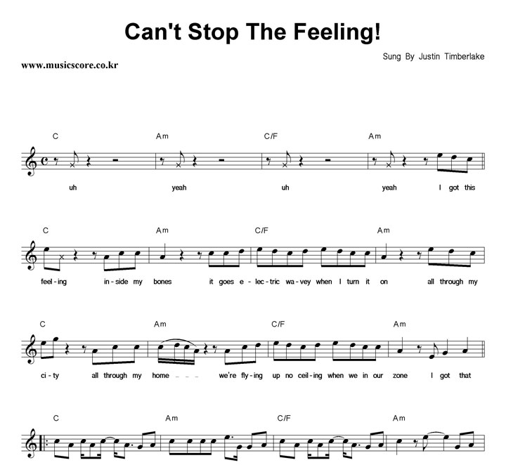 Can\'t stop the feeling chords | Lad os bygge et hus