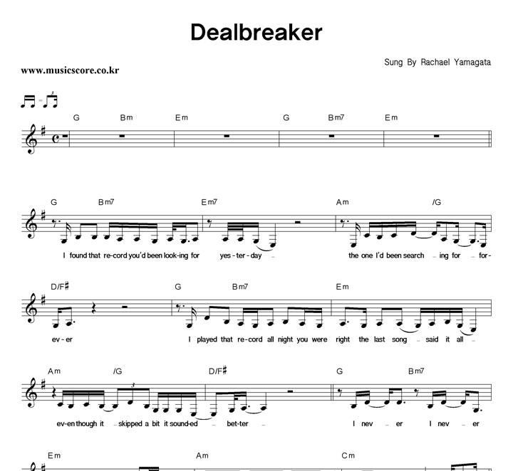 Rachael Yamagata Dealbreaker 악보 샘플