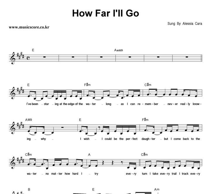 Alessia Cara How Far I'll Go 악보 샘플