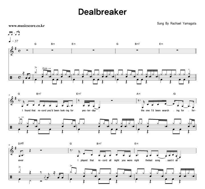 Rachael Yamagata Dealbreaker 밴드 드럼 악보 샘플