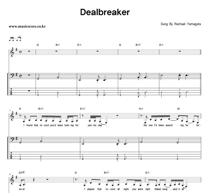 Rachael Yamagata - Dealbreaker 밴드 베이스 타브 악보 샘플