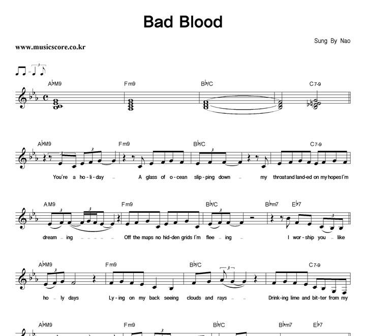 Nao Bad Blood 악보