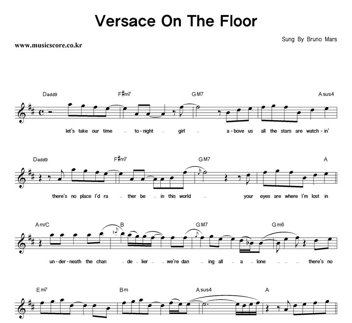 Bruno Mars Versace On The Floor 악보 : 악보가게