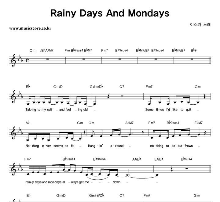 이소라 Rainy Days And Mondays 악보 샘플