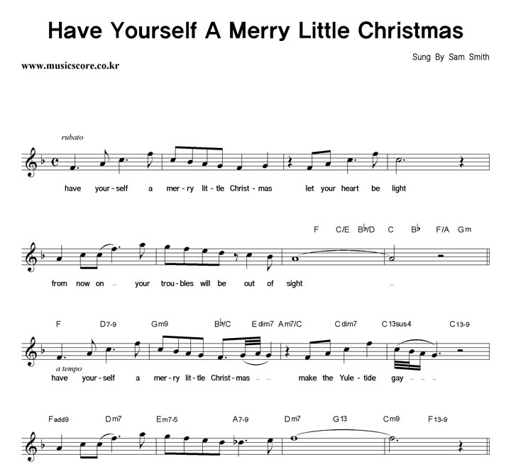 Sam Smith Have Yourself A Merry Little Christmas.Sam Smith Have Yourself A Merry Little Christmas 악보 악보가게