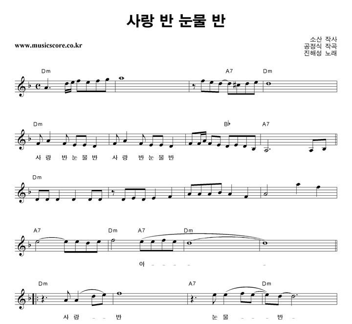 진해성 - 사랑 반 눈물 반 악보 샘플
