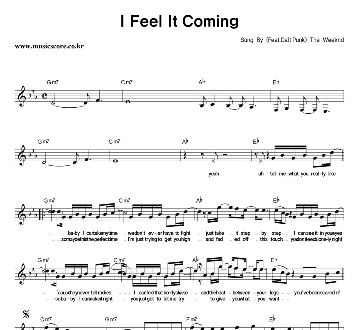 The Weeknd I Feel It Coming 악보 샘플
