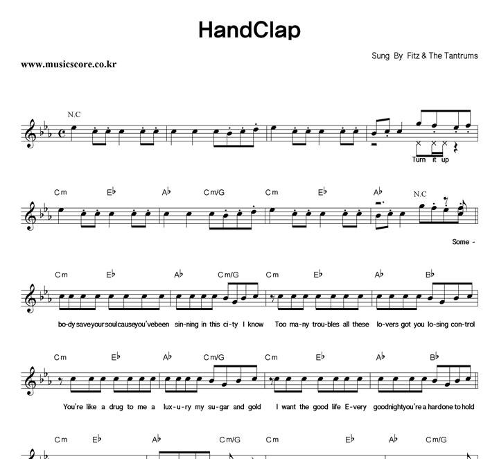 Fitz & The Tantrums HandClap 악보 샘플