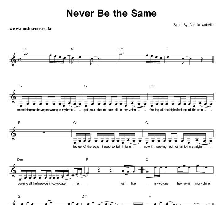 Camila Cabello - Never Be the Same 악보 샘플