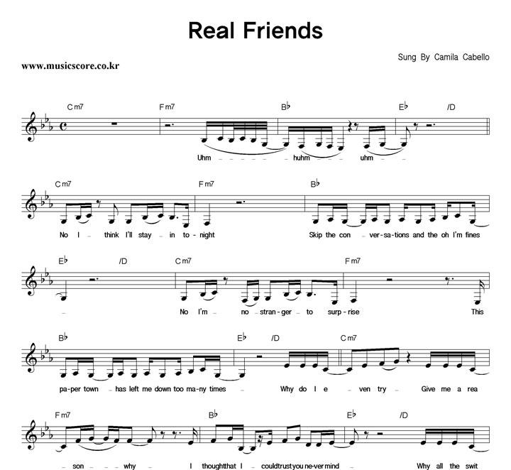 Camila Cabello - Real Friends 악보 샘플