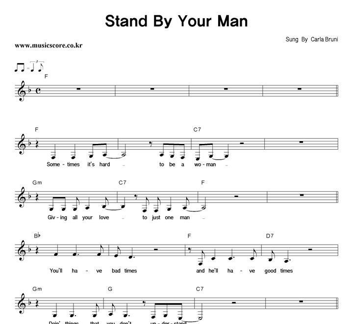 Carla Bruni Stand By Your Man 악보 샘플