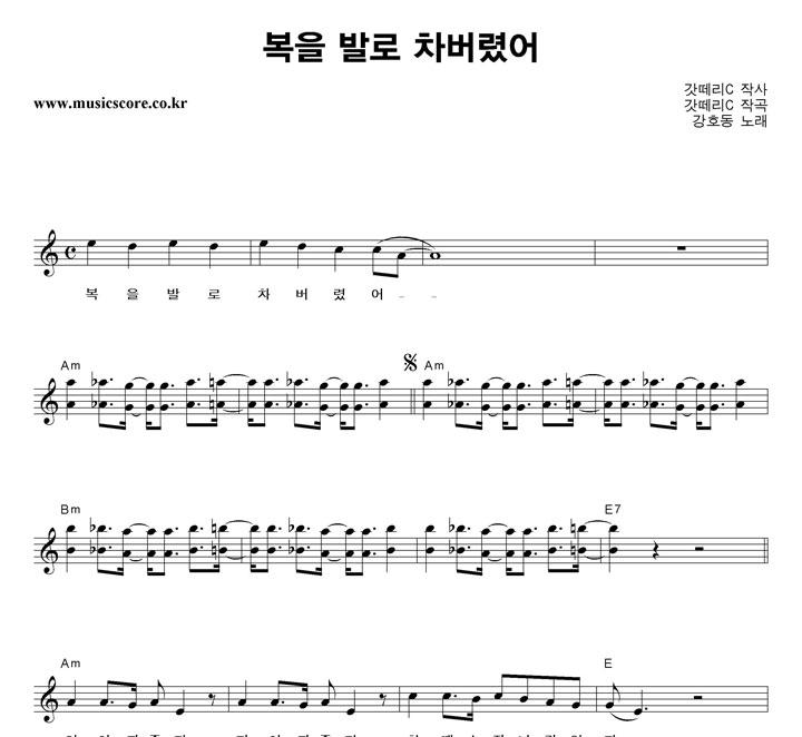 강호동,홍진영 복을 발로 차버렸어 악보 샘플