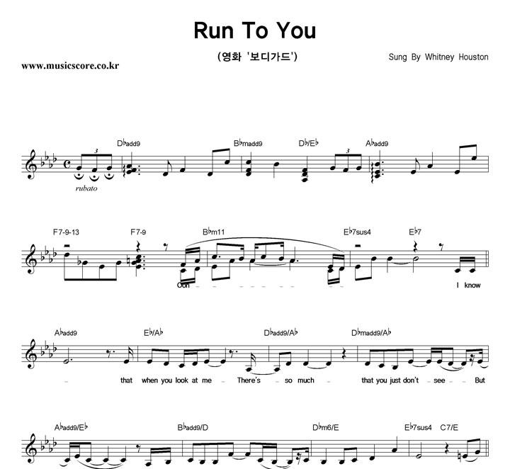 Whitney Houston Run To You Whitney Houston Run To You Cover
