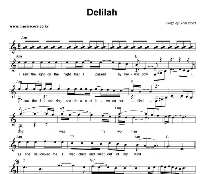 Tom Jones Delilah 악보 샘플